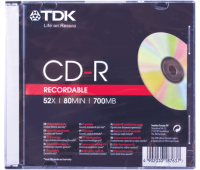 Диск CD-R TDK 700Mb 52x Slim Case TE-ARTS-2390-2 (ш/к-7637) 7651 510235