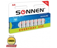 "Батарейки SONNEN, AA (LR6),  10шт., ""Everyday use"", АЛКАЛИН , в блистере, 1.5В, 451086"