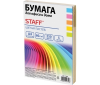 Бумага цветная STAFF color, А4, 80 г/м2, 250 л., микс (5 цв. х 50 л.), пастель, для офиса и дома, 110890