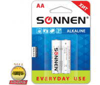 "Батарейки SONNEN, AA (LR6), 2шт., ""Everyday use"", АЛКАЛИН, в блистере, 1.5В, 451084"